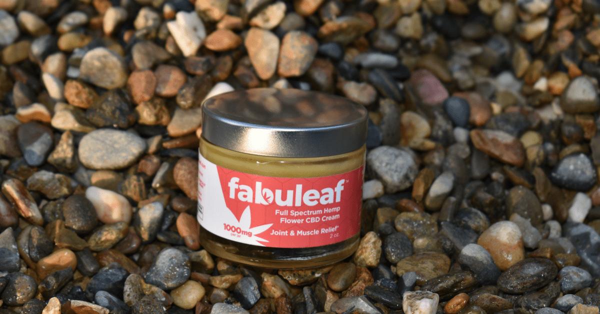 fabuleaf cbd cream on rocks