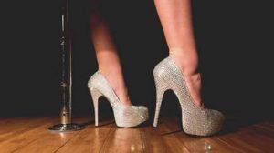 woman wearing high heeled shoes