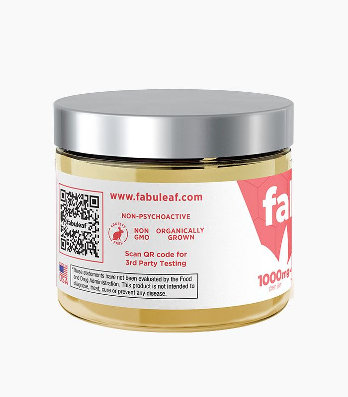 fabuleaf™ Full Spectrum Hemp Flower CBD Cream 1000mg per 2oz Jar QR Code and Features