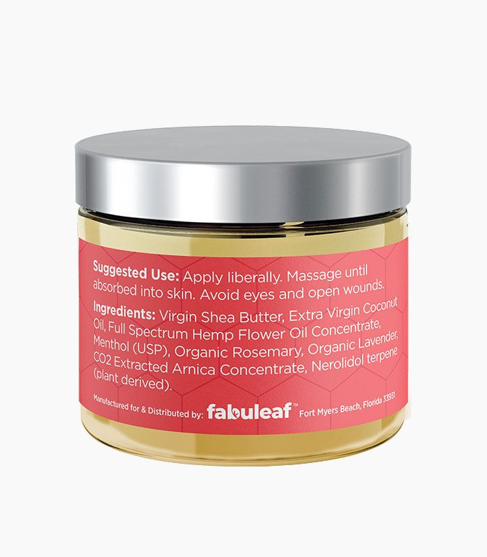 fabuleaf™ Full Spectrum Hemp Flower CBD Cream 1000mg per 2oz Jar Suggested Use and Product Ingredients