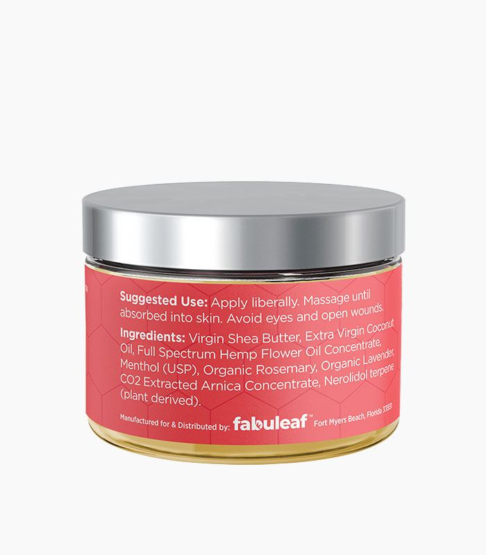 fabuleaf™ Full Spectrum Hemp Flower CBD Cream 500mg per 1oz Jar Suggested Use & Ingredients