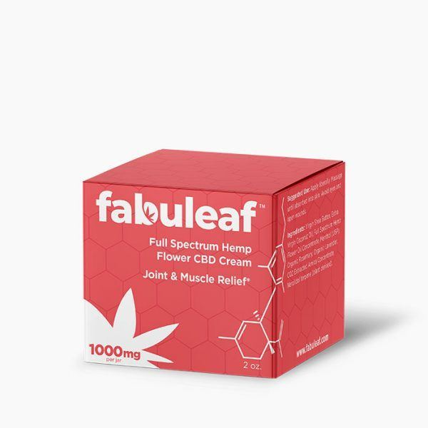 Full Spectrum Hemp Flower CBD Cream 1000mg per 2oz Jar Box | fabuleaf™ CBD Products