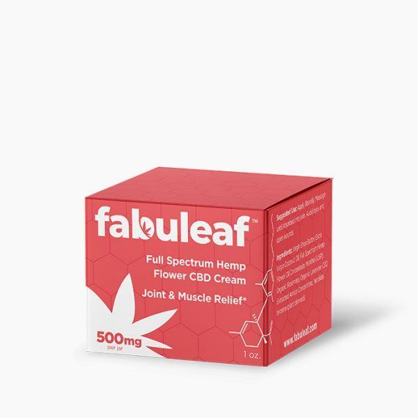 Full Spectrum Hemp Flower CBD Cream 500mg per 1oz Jar Box | fabuleaf™ CBD Products