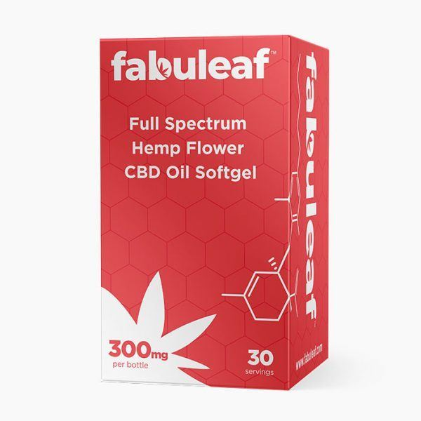 Full Spectrum Hemp Flower CBD Oil Softgels 300mg per 30 Count Bottle Box | fabuleaf™ CBD Products