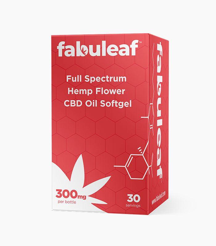 Full Spectrum Hemp Flower CBD Oil Softgels 300mg per 30 Count Bottle Box | fabuleaf™ CBD Products