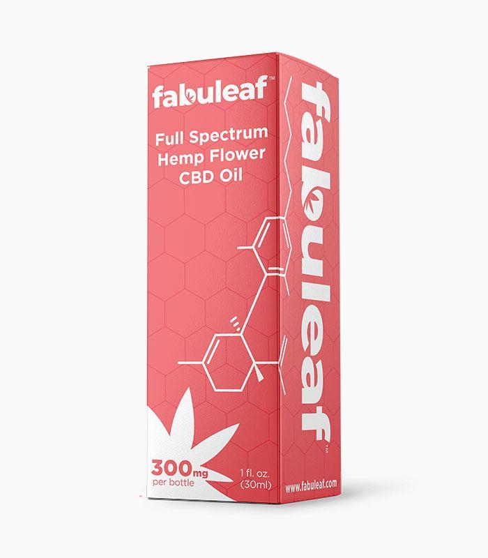 Full Spectrum Hemp Flower CBD Oil 300mg per 1oz (30ml) Bottle 30 Day Supply Box | fabuleaf™